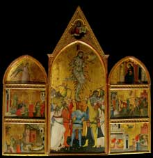 Giovanni del Biondo: Martyr de Saint Sébastien et scènes de sa vie. Vers 1370. Tempera sur bois, 224 x89 cm. Florence, muse de l'oeuvre du dôme