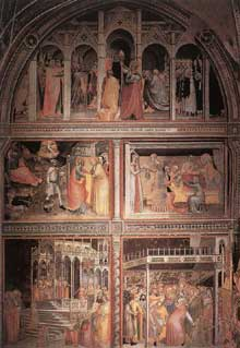 Giovanni da Milano: Scènes de la vie de la vierge. 1365. Fresque. Florence, Santa Croce, chapelle Rinuccini