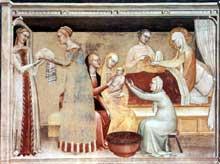 Giovanni da Milano: La naissance de la Vierge. 1365. Fresque. Florence, Santa Croce, chapelle Rinuccini