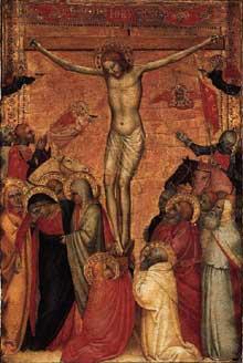 Giovanni da Milano: La Crucifixion. 1350s. Tempera sur panneau de bois, 51 x 36 cm. Collection privée