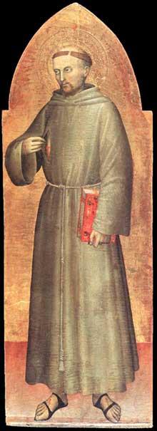 Giovanni da Milano: Saint François d'Assise. Vers 1360. Bois, 113 x 39 cm. Paris Musée du Louvre