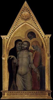 Giovanni da Milano: Pietà. 1365. Tempera sur panneau de bois, 110 x 46 cm. Florence, Galleria dell'Accademia