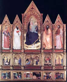 Giovanni da Milano: Polyptyque avec la madone et des saints. 1355. Panneau de bois. Prato, Musée civique