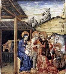 L'adoration des Mages. Vers 1462. Tempera et or sur bois, 27 x 23 cm. New York, Metropolitan Museum of Art