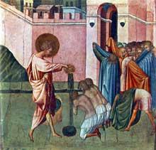 Giovanni di Paolo: saint Ansano baptisant. Vers 1440.Tempera sur bois, 31 x 32,5 cm. Esztergom (Hongrie), Christian Museum