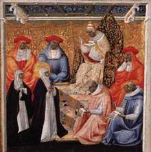 Giovanni di Paolo: Sainte Catherine bénie par le Pape. Vers 1460. Tempera sur panneau, 29 x 29 cm. Madrid, Museo Thyssen-Bornemisza