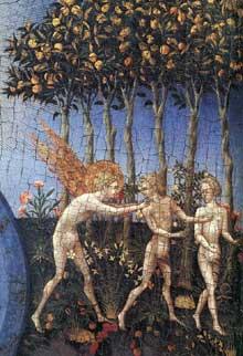 Giovanni di Paolo: la création et l'expulsiondu paradis, détail. Vers 1445. Tempera et or sur bois, 46, 4 x 52,1 cm. New York, Metropolitan Museum of Art