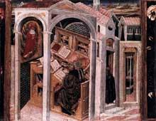 Giovanni di Paolo: Saint Jérôme apparaît à saint Augustin. Vers 1456. Panneau de peuplier, 37 x 40 cm. Berlin,Staatliche Museen