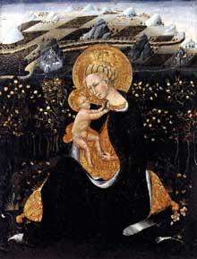 Giovanni di Paolo: vierge d'humilité. Vers 1435. Tempera sur panneau, 62 x 48 cm. Sienne, Pinacothèque Nationale, Sienne