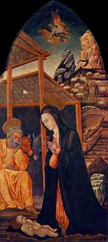 Giovanni di Paolo: nativité. Vers 1460. Tempera sur bois, 174 x 73 cm. Esztergom (Hongrie), Christian Museu
