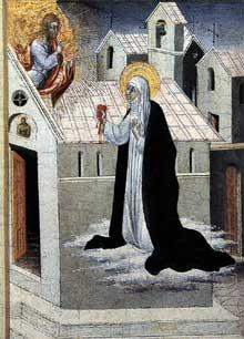 Giovanni di Paolo: sainte Catherine échange son Coeur avec le Christ. Vers 1475. Tempera et or sur bois, 29 x 23 cm. Collection privée