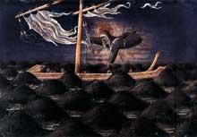 Giovanni di Paolo: sainte Claire au secours d'un navire naufragé. 1455-1460. Peuplier, 21 x 30 cm. Berlin, Staatliche Museen