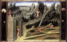 Giovanni di Paolo: Saint Jean Baptiste se retire dans le désert. 1454. Tempera sur peuplier, 31 x 39 cm. Londres, National Gallery
