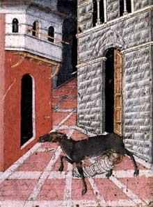 Giovanni di Paolo: saint Etienne nourri par une chèvre. 1450. Tempera sur bois. Sienne, San Stefano alla Lizza