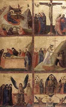 Giovanni da Rimini: Histoires de la vie du Christ. Vers 1305. Tempera sur panneau de bois, 52,5 x 34,5 cm. Rome, Galleria Nazionale d'Arte Antica