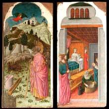 Giovanni da Rimini: Cycle de la vie de la vierge: l'Ange apparaît à Joachim et la naissance de la Vierge. Entre 1440 et 1450. Huile sur bois, 30 cm x 59 cm. Paris, Musée du Louvre