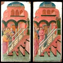 Giovanni da Rimini: Cycle de la vie de la vierge: la Présentation de la Vierge au Temple et la Vierge montant les degrés du Temple. Entre 1440 et 1450. Huile sur bois, 30 cm x 59 cm. Paris, Musée du Louvre