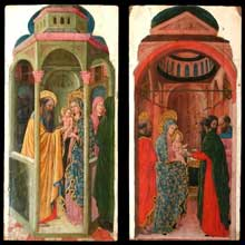 Giovanni da Rimini: Cycle de la vie de la vierge: la présentation de Jésus au temple et la Circoncision. Entre 1440 et 1450. Huile sur bois, 30 cm x 59 cm. Paris, Musée du Louvre