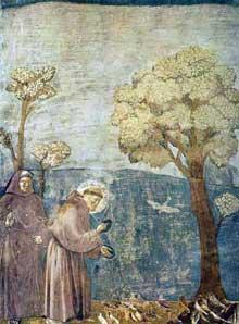 Giotto di Bondone (1266 environ - 1337). Saint François. Fresque d'Assise