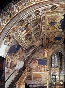 Giotto : Assise, église inférieure Saint François: vue sur le transept nord, partie ouest