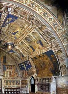 Giotto : Assise, église inférieure Saint François: vue sur le transept nord, partie est