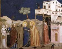 Giotto : La Visitation. 1310s. Fresque. Assise, église inférieure Saint François, transept nord