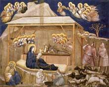 Giotto : La Nativité. 1310s. Fresque. Assise, église inférieure Saint François, transept nord