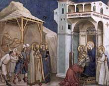 Giotto : L'adoration des Mages. 1310s. Fresque. Assise, église inférieure Saint François, transept nord