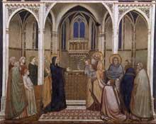 Giotto : La présentation du Christ au Temple. 1310s. Fresque. Assise, église inférieure Saint François, transept nord