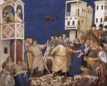 Giotto : Le massacre des Innocents. 1310s. Fresque. Assise, église inférieure Saint François, transept nord