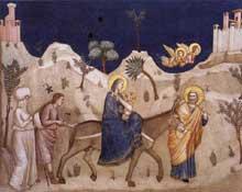 Giotto : La fuite en Egypte. 1310s. Fresque. Assise, église inférieure Saint François, transept nord