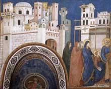 Giotto : Le retour du Christ à Jérusalem. 1310s. Fresque. Assise, église inférieure Saint François, transept nord