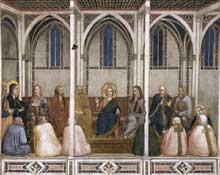 Giotto : Le Christ parmi les docteurs de la Loi. 1310s. Fresque. Assise, église inférieure Saint François, transept nord
