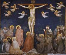 Giotto : La Crucifixion. 1310s. Fresque. Assise, église inférieure Saint François, transept nord