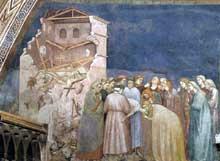 Giotto : La mort de l'enfant de Sessa. 1310s. Fresque. Assise, église inférieure Saint François, transept nord