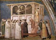 Giotto : Le Christ ressuscite l'enfant de l'enfant de Sessa. 1310s. Fresque. Assise, église inférieure Saint François, transept nord