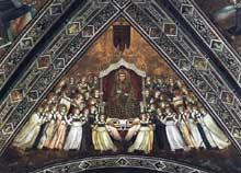 Giotto : Les vertus franciscaines: la gloire de saint François. 1330. Fresque. Assise, église inférieure Saint François