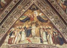 Giotto : Les vertus franciscaines: allégorie de la pauvreté. 1330. Fresque. Assise, église inférieure Saint François