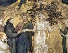 Giotto : Les vertus franciscaines: allégorie de la pauvreté, détail. 1330. Fresque. Assise, église inférieure Saint François