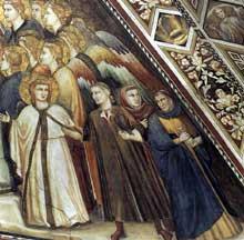 Giotto : Les vertus franciscaines: allégorie de la pauvreté, détail: les riches. 1330. Fresque. Assise, église inférieure Saint François