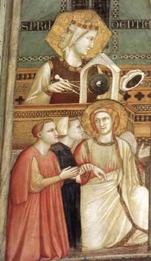 Giotto : Les vertus franciscaines: allégorie de l'obéissance, détail. 1330. Fresque. Assise, église inférieure Saint François