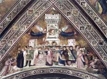Giotto : Les vertus franciscaines: allégorie de la chasteté. 1330. Fresque. Assise, église inférieure Saint François
