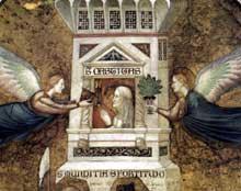 Giotto : Les vertus franciscaines: allégorie de la chasteté, détail. 1330. Fresque. Assise, église inférieure Saint François