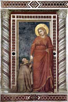 Giotto : Scènes de la vie de Marie Madeleine: Marie Madeleine et le Cardinal Pontano. 1320s. Fresque. Assise, église inférieure Saint François, chapelle sainte Madeleine