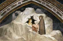 Giotto : Scènes de la vie de Marie Madeleine: l'ermite Zosime remet une cape à Marie Madeleine. 1320s. Fresque. Assise, église inférieure Saint François, chapelle sainte Madeleine