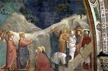 Giotto : Scènes de la vie de Marie Madeleine: la résurrection de Lazare. 1320s. Fresque. Assise, église inférieure Saint François, chapelle sainte Madeleine