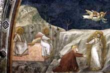 Giotto : Scènes de la vie de Marie Madeleine: «Noli me tangere». 1320s. Fresque. Assise, église inférieure Saint François, chapelle sainte Madeleine