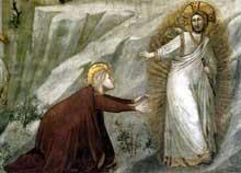 Giotto : Scènes de la vie de Marie Madeleine: «Noli me tangere», détail. 1320s. Fresque. Assise, église inférieure Saint François, chapelle sainte Madeleine