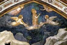 Giotto : Scènes de la vie de Marie Madeleine: Marie Madeleine converse avec les anges. 1320s. Fresque de la lunette. Assise, église inférieure Saint François, chapelle sainte Madeleine