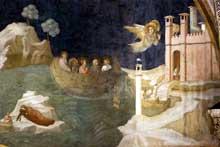 Giotto : Scènes de la vie de Marie Madeleine: le voyage de Marie Madeleine à Marseille. 1320s. Fresque. Assise, église inférieure Saint François, chapelle sainte Madeleine